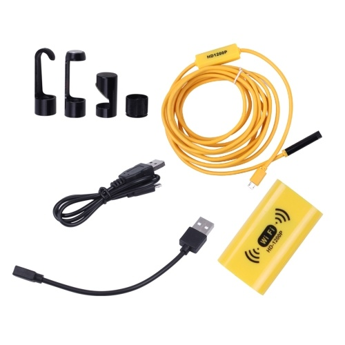 8mm Wireless Endoscope Camera IP68 Waterproof WiFi Inspection 2.0MP HD 8 LED Semi-Rigid Cable Borescope for iPhones iPads Android Devices and PC Yello