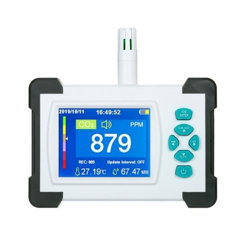 Detector de dióxido de carbono com bateria recarregável portátil medidor de CO2 testador detector de qualidade do ar monitor de medidor de CO2 com caixa de armazenamento