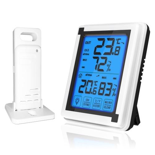 Внутренний наружный термометр Цифровой беспроводной гигрометр с сенсорным ЖК-дисплеем Подсветка Монитор влажности Датчик температуры и влажности для дома / офиса / теплицы