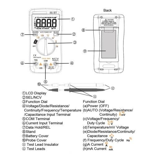 BSIDE 6000 Counts Digital Multimeter AC/DC Voltage Current Portable Handheld Ammeter
