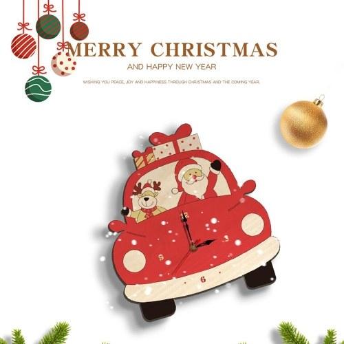 Christmas Day Wooden Clock Wall Clock Santa Claus Deer Home Decoration Cartoon(No battery)