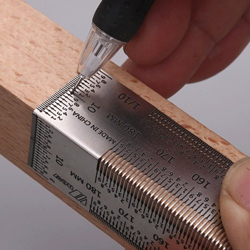 KKmoon High-Precision Scale Ruler T-Type Hole Ruler Stainless Woodworking Scribing Mark Line Gauge Carpenter Measuring Tool
