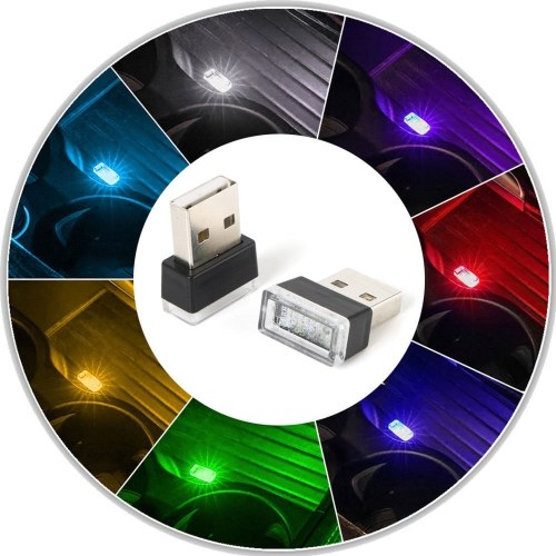 1x flexível Mini USB LED luz colorida lâmpada para acessórios de lâmpada de atmosfera de carro