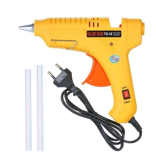 Hot Melt Glue Gun 60W/100W Power Adjustable Hot Melt Glue Machine Multifunctional Industrial Household DIY Glue Gun Yellow GT-10