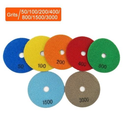 7PCS 4 Inch Set  Wet Dry Diamond Polishing Pads For Granite Concrete Marble