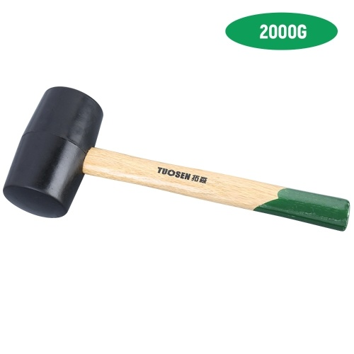 62000 Black Rubber Mallet Dual Face Tile Hammer with Wooden Handle