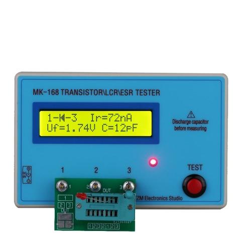 MK168 portátil LCD Backlight Transistor testador diodo indutância capacitância resistência medidor ESR MOS/PNP/NPN l/c/R teste