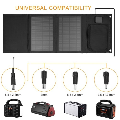 30W Foldable Solar Panel Charger with Dual 5V USB Ports for Cell Phone Power Bank Car Boat RVs Off G