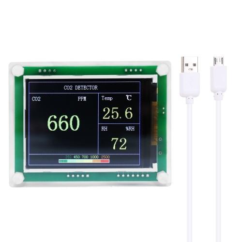 Pantalla digital LED de alta precisión para uso doméstico Mini Detector de CO2 portátil USB Probador de aire láser multifuncional