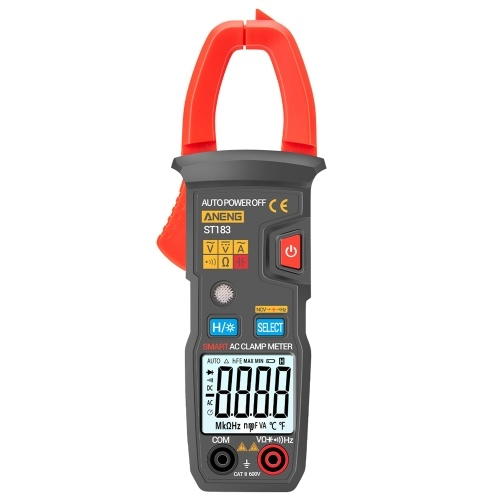 ANENG ST183 6000 Counts Digital AC Current Clamp Meter 600A Automatic Range Multimeter with Backlight Voltage Meter Clamp Gauge NCV Test Clamp Ammeter Universal Meter Tester Measuring Capacitance / AC Current / AC/DC Voltage / Resistance / Frequency