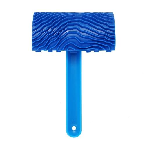 Gomma blu imitazione venatura del legno Pennello per pittura murale Strumento per pittura a grana in legno per pareti con manico