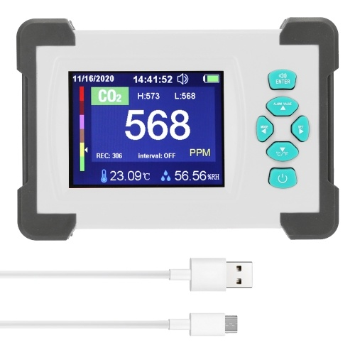 3.2inch TFT Full Color Display Carbon Dioxide Detector Portable CO2 Tester Rechargeable Air Quality Meter with Storage Box Support Generate and Export PDF File