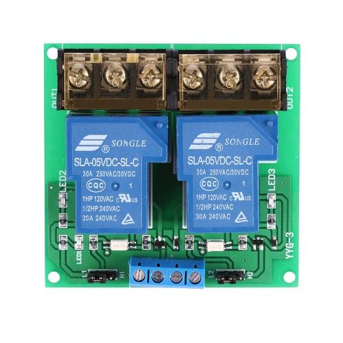 2チャンネルDC 5V 30Aリレーボードモジュールフォトカプラアイソレーション高/低トリガー