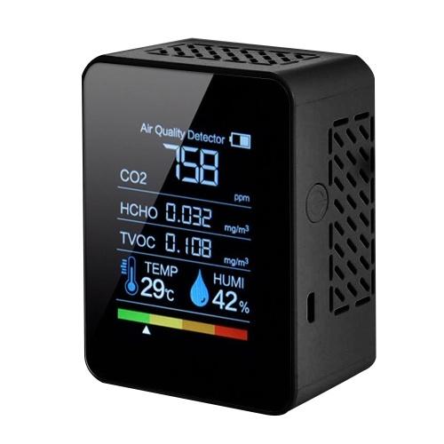 Medidor Multifuncional de CO2 5 em 1 Medidor Digital de Temperatura Umidade Testador de Dióxido de Carbono Detector TVOC HCHO Monitor de Qualidade do Ar
