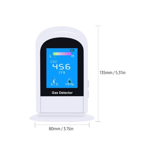 Air Quality Monitor CO2 Detector with 2.8 Inch TFT Screen Indoor Temperature Humidity Display for Home Classroom Office Hotel