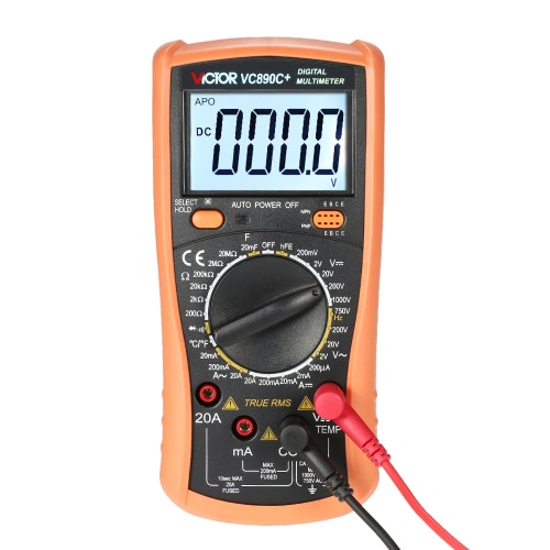 Victor VC890C+ True RMS Multi-functional Digital Multimeter Measuring AC/DC Voltage Current Resistance Capacitance Temperature hFE Tester