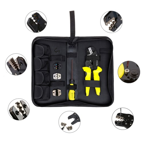 Meterk Professional 4 In 1 Wire Crimpers Engineering Ratcheting Terminal Crimping Pliers Bootlace Ferrule Crimper Tool Cord End Terminals