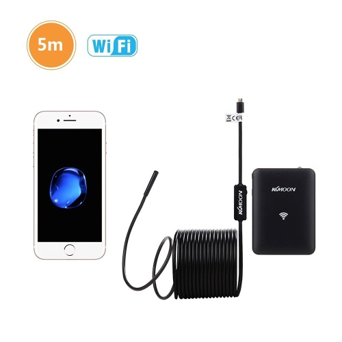 KKmoon 5.5mm Wireless Endoscope WiFi Borescope Waterproof Inspection Camera 0.3 Megapixels CMOS with 6pcs Adjustable LED Lights and 2M/5M/10M Cable for iOS Android Smartphone Ipad Tablet