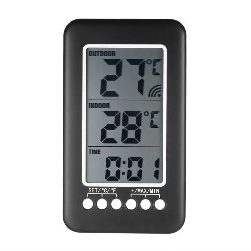 LCD ℃ / ℉ misuratore di temperatura dell'orologio termometro interno / esterno wireless digitale con trasmettitore