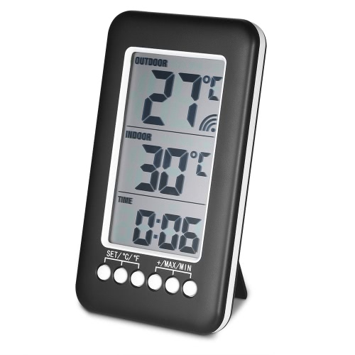 LCD ℃ / ℉ Digital Wireless Indoor / Outdoor Thermometer Uhr Temperatur Meter mit Sender