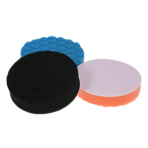 "3PCS Brand New 3 ""80mm / 5"" 125mm / 6 ""150mm / 7"" 180mm Car Polishing Sponge Pads Waxing Buffing Pad Kit de espuma conjunto para polidor de carro Buffer Waxer Sander Polishing Waxing Vedação Glaze"