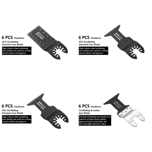 KKmoon 24pcs Oscillating Multi Tool Saw Blade Kit Blades for Dremel Fein Multimaster Makita Bosch Rockwell Sonicrafter Worx Multit