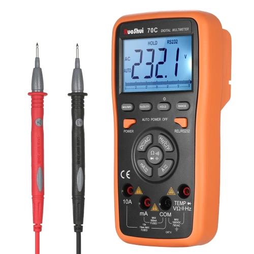 RuoShui 5999はオートレンジを測定True RMS多機能デジタルマルチメータDCM電圧を使用したDMM電流計抵抗ダイオード容量静電容量試験器温度測定連続性試験HZバックライトLCDディスプレイ