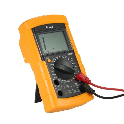 Vici Multímetro digital multifuncional DMM con detector de temperatura DC Voltaje de CA Medidor de corriente Resistencia Capacitancia Medidor de diodo Medidor múltiple Continuity Test 2000 Pantalla LCD