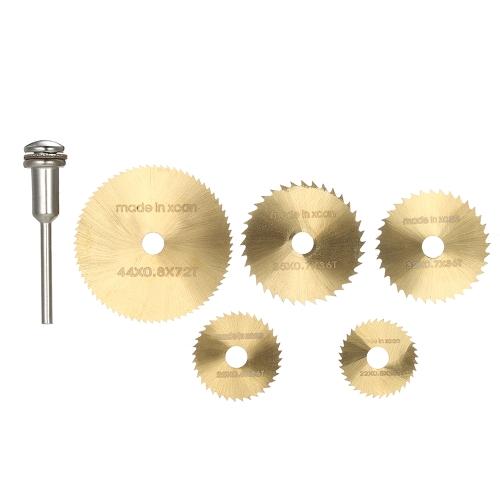 """Juego de herramientas de corte rotativo para hojas de sierra circular 6pcs HSS con mango de 1/8 """"para cortar madera y plástico"""