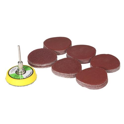 60PCS 50 мм 2-дюймовый шлифовальный диск Sander Disc 100-2000 Grit Paper с 2-дюймовой абразивной латунной пластиной для Dremel Rotary Tool