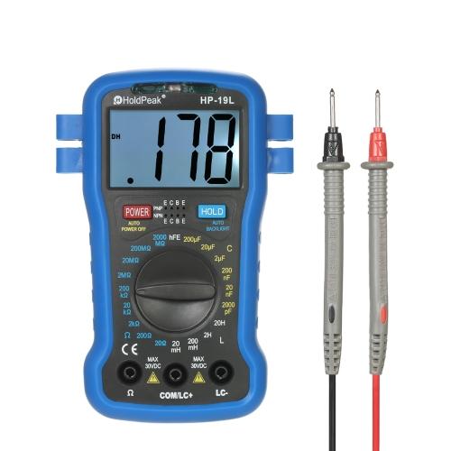 HoldPeak Retroiluminación LCD Digital LCR Multímetro Resistencia Capacitancia Inductancia Transistor hFE Test Tester Medidor con correa para la muñeca