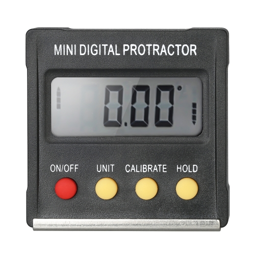 Mini Numérique Protractor Inclinomètre Niveau Mètre Biseau Gauge Angle Finder avec 4 x 90 Degrés de Gamme + Base Magnétique pour Mitre Scie Bois DIY Réparation D'essai Automobile