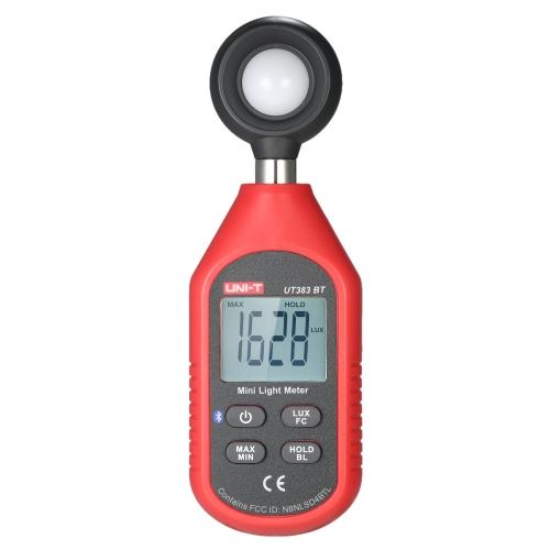 UNI-T UT383BT Mini-luminômetro de mão LCD Digital Fotômetro Luxmeter Light Medidor 0-199900 Lux