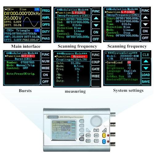 JUNTEK High Precision Digital Dual-channel DDS Signal Generator Counter 2.4in Screen Display Arbitrary Waveform Pulse Signal Gener