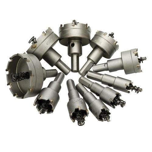 Diametro punta in carburo cementato 10 pezzi assortiti 16mm / 18mm / 19mm / 22mm / 25mm / 30mm / 35mm / 42mm / 50mm / 53mm