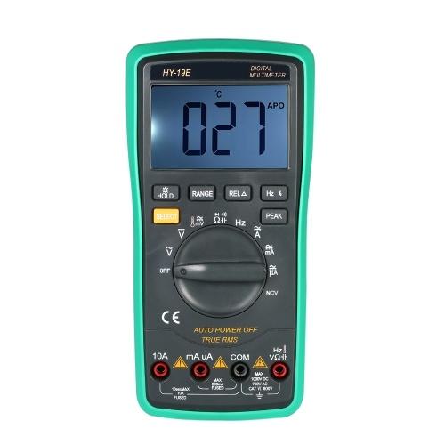 Multimetro digitale portatile LCD NCV True RMS Multimetro con rilevatore di temperatura Corrente di tensione CC / CA Misuratore di capacità Resistenza diodi Tester