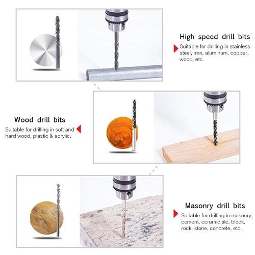 38pcs Multi-purpose Drill Bit Set High Speed Steel(HSS) Drills Masonry Drill Bit Carbon Steel Wood Drill Bit Round Shank Woodworking Drill Slotted Phillips & Pozi Screw Bits