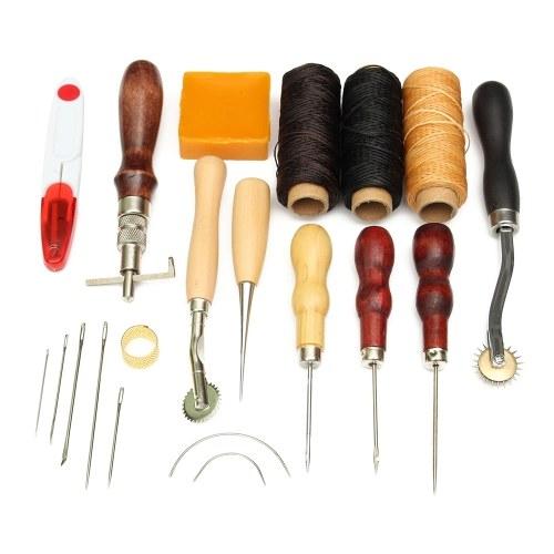 14pcs fai da te in pelle set di strumenti artigianali cucito a mano cuciture punzonatura intaglio kit di lavoro accessori leathercraft