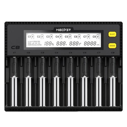 MiBOXER C8 Intelligent Universal 1.5A 8 Bay LCD Display Battery Charger for 18650 Li-ion LiFePO4 Ni-MH Ni-Cd AA 21700 20700 26650 18350 17670 RCR123 18700