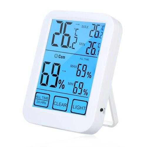 Многофункциональный сенсорный экран с подсветкой Цифровой термометр для помещений Гигрометр ° C / ° F Монитор температуры и влажности Датчик температуры Термогигрометр с максимальными и минимальными показателями фото