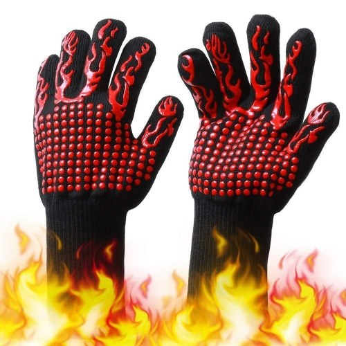 Barbecue Gloves with Silicone Anti-slip Stripe Heat Proof Oven Gloves 500~800℃ Heat Resistant Grill Gloves for Outdoor Barbecue Garden Grilling Kitchen Cooking Welding