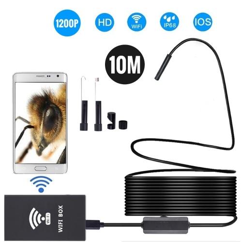 Endoscopio senza fili IP68 Impermeabile WiFi Borescope Inspection 2.0MP HD 8 LED 8mm Telecamera semi-rigida per serpenti per iPhone iPad Dispositivi Android e PC 10M