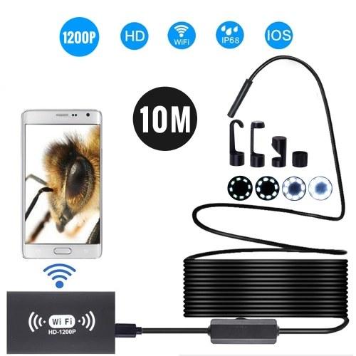 Cámara de endoscopio inalámbrico de 8 mm IP68 Impermeable WiFi Inspección 2.0MP HD 8 LED Cable semirrígido Boroscopio para iPhones iPads Dispositivos Android y PC Negro 10M