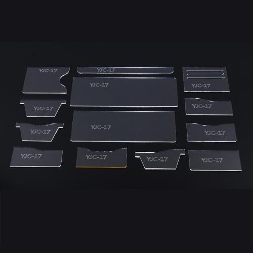 Ensemble de modèles de gabarit de modèle de porte-monnaie en acrylique transparent transparent