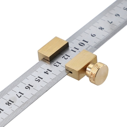 Brass Steel Ruler Positioning Block Woodworking Line Locator Stop Block DIY Measuring Tool with 300mm Steel Ruler