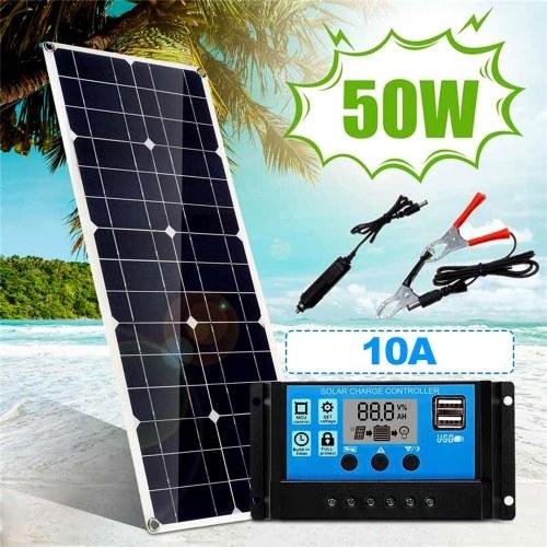 50W 5V / 18V Солнечная панель Двойной выход USB Монокристаллическая солнечная панель IP65 Водонепроницаемость с 10A Солнечный регулятор заряда контроллера для автомобильных яхт Аккумуляторы Зарядное устройство