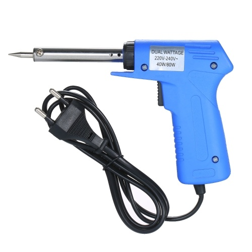 Double Power Electric Soldering Iron Gun type Electric Soldering Iron Power Adjustable Soldering Iron Gun Blue 40W/80W Adjustable