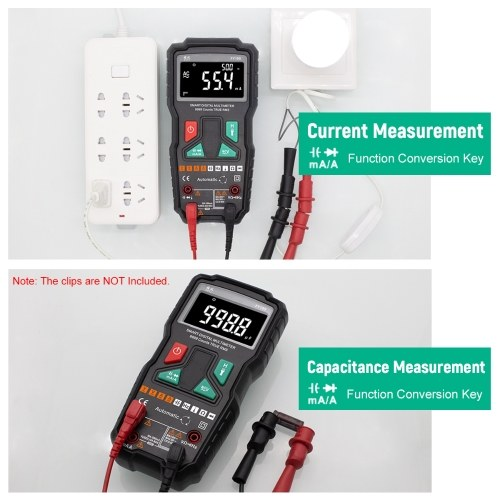 FUYI Digital Multimeter 9999 Count Intelligent Automatic Range Universal Meter Multifunctional Dual Chip Dual Test AC DC Resistance Capacitance Frequency Temperature True RMS NCV Ammeter FY19S Black
