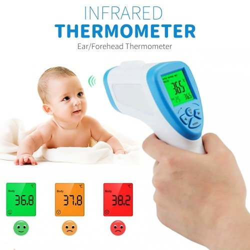 Digital Infrared Thermometer Forehead Thermometer Ear Thermometer for Infants Adult Non Contact Object Indoor Temperature Measurement Device ℃ and ℉ Switchable Fever Alarm Memory Function