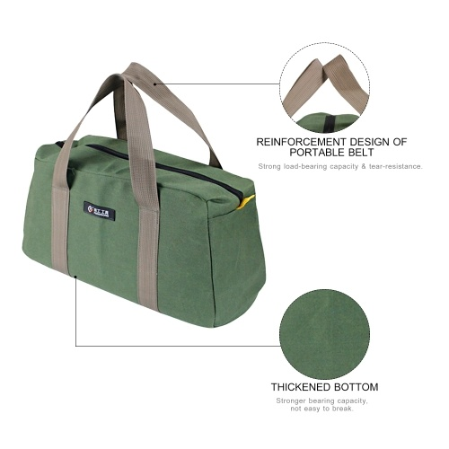 PENGGONG Large Thickened Wear-resistant Maintenance Tool Storage Bag Multifunctional Portable Tool Bag Large Capacity Canvas Bag 16-inch Army Green 16